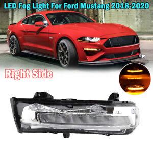 For 2018 2019 2020 Ford Mustang LED Fog Light DRL W/Turn Signal Right Passenger