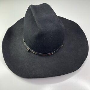Vintage Rockmount Ranch Wear Western Wool Black Cowboy Hat Size 7 3/8 USA