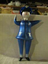 GLASS POLICEWOMAN CHRISTMAS ORNAMENT WITH FELT HAT