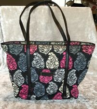 Vera Bradley Trimmed Tote Shoulder Purse Bag Northern Lights Black Gray Pink