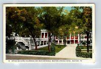 Bedford PA Springs Hotel, Entrance, Colonnade, Vintage Pennsylvania Postcard A85