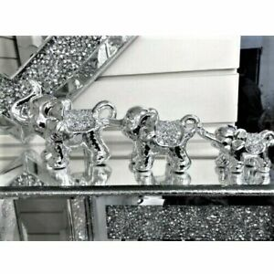 CRUSHED ELEPHANT Set Crystal Diamond New 3Pcs Ornament Bling Mille Sparkle UK