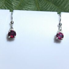 1.84 CTW Natural Rhodolite Garnet Drop Earrings 6 mm round 925 Sterling Silver