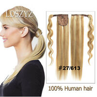 100% Human Hair Ponytail Comb Hook Loop Pony Tail Hair Extensions 16''-20''