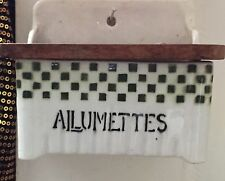 Old French Ceramic & Wood Wall Match Box ALLUMETTES Green White Checkered As Is