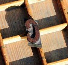 letter: C rare wood type letterpress printing block woodtype font antique print.