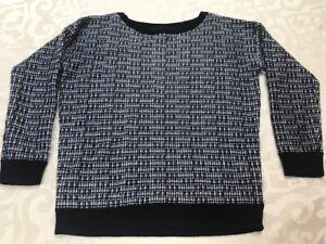New J.Crew blue white silver knit wool blend crew sweater top women's S $250