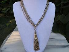 """Vintage 24"""" 4 strand Goldtone Necklace with Tassel Pendant"""