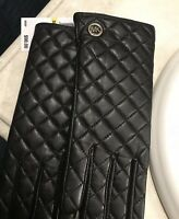 New Michael Kors Black Quilted Ladies Leather Gloves - Size Medium -Style 536581