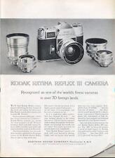 1962 Kodak Retina Reflex III Camera and Lens PRINT AD