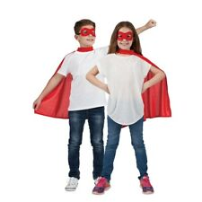 Childrens Super Hero Red Cape & Eyemask Fancy Dress Book Day Kids