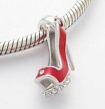 LADIES RED HIGH HEEL SHOE CHARM Bead Sterling Silver.925 4 European Bracelet 537