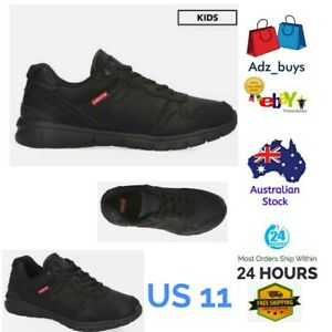 Boys Levis's Black Mono Chrome colby burnish school shoes size US11 Brand New