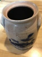 "Salmon Falls Salt Glazed Blue Stoneware Crock 1996 6"" Blueberry Basket Read Desc"
