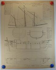 navire Bretagne Chasse marée de Pouliquen à Azzière carré planche 1910/SMC19