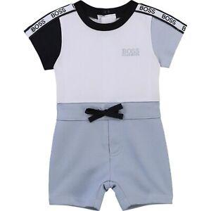 HUGO BOSS 2in1 Baby Einteiler hellblau weiß mit Logo Details 3-18 Monate