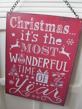LARGE HANGING CHRISTMAS RED WALL PLAQUE IT'S THE MOST WONDERFUL TIME OF YEAR
