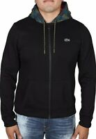 Men's Lacoste SPORT Contrast Hood Fleece Zip Sweatshirt SH8594-51 4U5 Black
