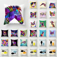 Animal Rainbow Polyester Pillow Case Cover Sofa Waist Cushion Cover Home Decor