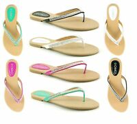 LADIES WOMENS NEW FLAT TOE POST DIAMANTE SUMMER BEACH SLIP ON SANDALS SHOES SIZE