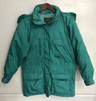 Eddie Bauer Womens Goose Down Jacket VINTAGE Teal Green Removable Hood Medium