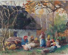 1v2: Aquarell Gemälde Frauen Oktober Sonntag Distyow Galizien G. Pilz 15.10.1916