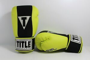Title Boxing Gloves GEL Enforced Lining Size LARGE - Lime Green Neon Leather