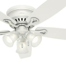 """Hunter 52"""" Traditional Ceiling Fan in White with Swirled Marble Glass Light Kit"""