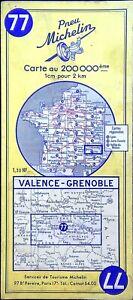 Ancienne carte Routière Michelin collector - 200 000é - VALENCE-GRENOBLE