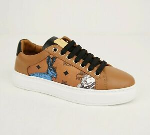 $550 MCM Women's Cognac Brown Visetos Leather Rabbit Print Sneaker MES9AMM76CO0