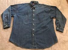 Ralph Lauren CHAPS Mens Size XL Long Sleeve Button Down Denim Shirt Preowned
