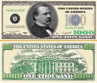 "GROVER CLEVELAND BILLET ""1000 DOLLAR US""  Collection President Million Histoire"