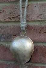 Gold Cow Bell Wind Chime Bell Beaded Rope Hanger Iron Fair Trade Home Garden