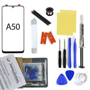 Black Outer Front Glass Lens Screen Replacement for Samsung Galaxy A50