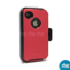 OTTERBOX DEFENDER COVER CASE FOR APPLE IPHONE 4 4S RUGGED HOLSTER CLIP RED