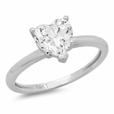 1.30 CT Heart Shaped Cut Solitaire Engagement Ring Solid 14k White Gold
