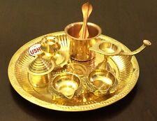 Brass Pooja Arthi Plate Pure Brass Arti Thali 8 piece Puja Room decorative Items