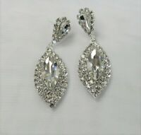 Silver Dangle Drop Wedding Prom Clear Rhinestone Crystal Earrings  # 6267 New