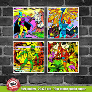 MOTU EVILS SKELETOR 4 DIFFERENT COLORFUL HE-MAN COMIC POSTERS LOT FREE SHIPPING