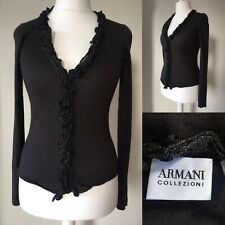 Armani Collezioni 12 14 Dark Chocolate Brown Cardigan Ruffle Silk Cashmere Party