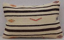 24'' X 16'' Unique Plain Kilim Lumbar Pillow Case,Area Rug Vintage Body Cushion