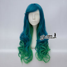 Harajuku 65CM Lolita Blue Mixed Green Curly Long Ombre Party Girls Cosplay Wig