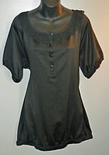 Womens Plus Size Solid Black Top With Sheer Ruffled Neckline 3X