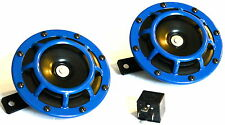 2PC BLUE SUPER LOUD GRILLE MOUNT COMPACT ELECTRIC BLAST TONE HORN (FITS:SUBARU)