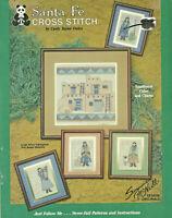 Santa Fe Southwest Counted Cross Stitch Pattern Leaflet Adobe pueblo Girl w/pots