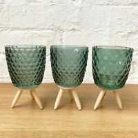 S/3 Green Glass Embossed Tea Light Candle Holder Table Decor Ornament Wood Stand