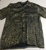 Fenix Men's Size Medium Short Sleeve Button Front Shirt Black Gold Rayon Blend