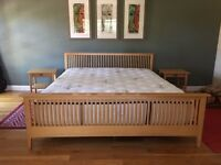 Contemporary Cal King Bed Frame with mattress and 2 maple nightstands