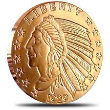 1 oz Copper Bar - Incuse Indian 999 Copper Bullion Round