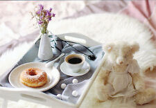 COFFEE AND DONUT FOR TEDDY'S BREAKFAST Modern Russian postcard